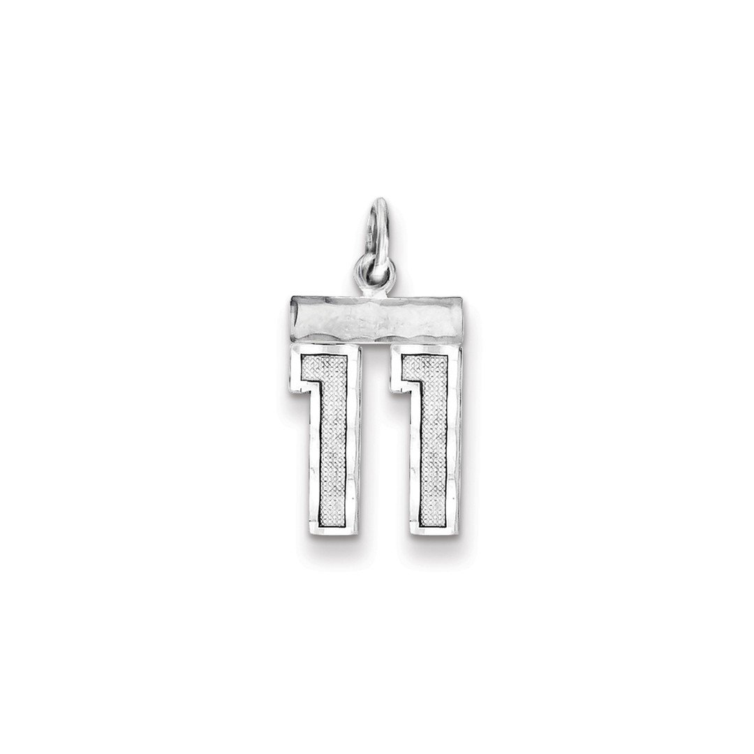 925 Sterling Silver Small #11 Pendant Charm Necklace Sport Fine Jewelry Gifts For Women For Her