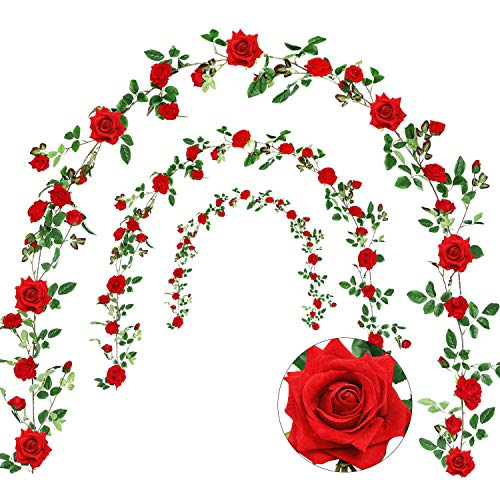 Veryhome Rose Vine Artificial Flower Garland Fake Hanging Rose Ivy Plants 6ft for Wedding Home Party Garden Arrangement Decor Pack of One ()