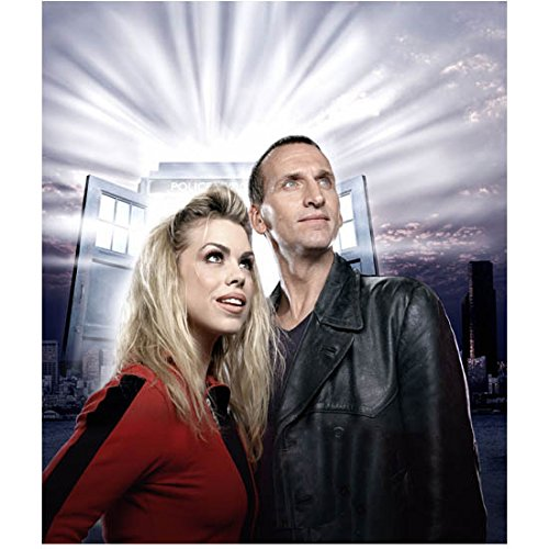Christopher Eccleston 8x10 Photo Doctor Who The Others Thor Seated w/Billie Piper Both Looking Up Tardis Doors Open in Background Light Streaming Out kn