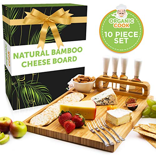 Bamboo Cheese Board Set with Cheese Knives, Ceramic Bowl, Serving Forks - Premium Charcuterie Board Makes Perfect Birthday, Wedding, Housewarming Gift, 14 x 11 inch (The Padrona)