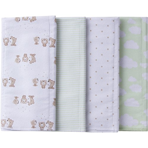 Flannel Newborn Teddy Bears - Gerber Baby 4 Pack Flannel Burp Cloth, Teddy, One Size