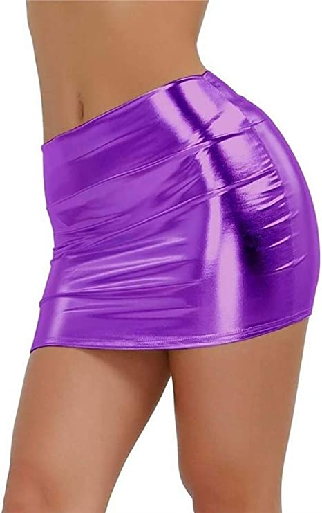 HEHEAB Falda,Purpura Oro Mujer Mini Falda Falda De Cuero para ...