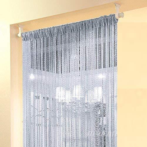 TCT TECH Wall Panel Fringe Divider Door Window Sheer Panels-Curtain Drape Scarf Voile Drape Valances,Wall Panel Fringe Divider (Silver, 39'' X 79'')