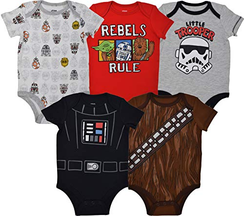 Star Wars Baby Boys 5 Pack Bodysuits Darth Vader Chewbacca Storm Trooper 24 -