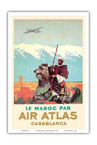 Casablanca  Morocco   By  Le Maroc Par  Air Atlas   Vintage Airline Travel Poster By Albert Brenet C 1950   Master Art Print   12In X 18In