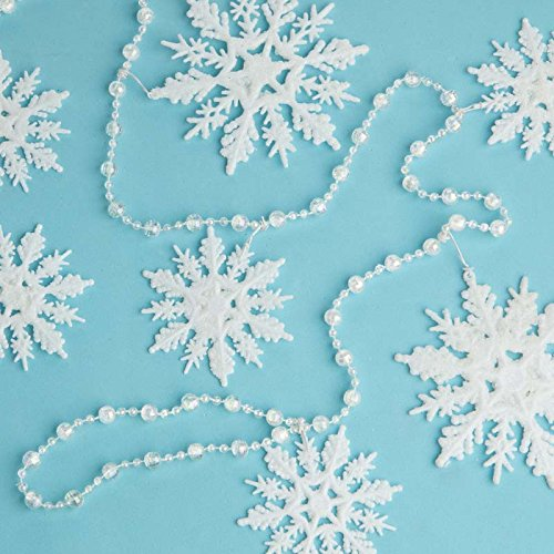 Factory Direct Craft Set of 2 Sparkling Snowflake and Bead Garlands for Tree Trim, Holiday Crafting, and Holiday Crafting