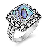 Prime Jewelry Collection Sterling Silver Women's Abalone Ball Bead Ring (Sizes 4-11) (Ring Size 4)