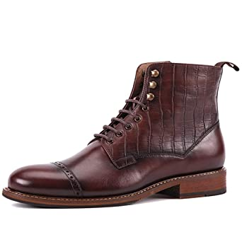 MERRYHE Botas De Martin De Cuero De Plena Flor para Hombre Zapatos ...