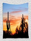 Western Decor Sunny Desert Cactus Picture Wild Nature Sunset High Resolution Photography Digital Printed Tapestry Wall Hanging Wall Tapestry Living Room Bedroom Dorm Decor, Blue Yellow Orange Black