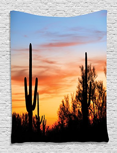 Western Decor Sunny Desert Cactus Picture Wild Nature Sunset High Resolution Photography Digital Printed Tapestry Wall Hanging Wall Tapestry Living Room Bedroom Dorm Decor, Blue Yellow Orange Black Cactus Scene Wall Art