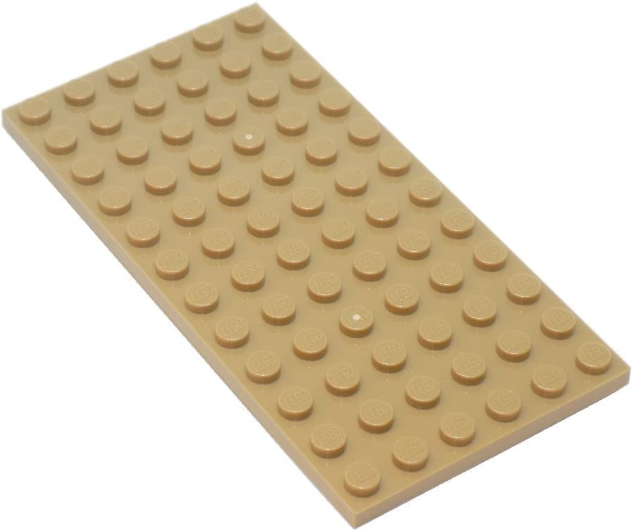 """LEGO Parts and Pieces: Dark Tan (Sand Yellow) 6x12 (1.8""""x3.6"""") Plate x20"""