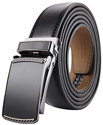 Marino Avenue Men's Genuine Leather Ratchet Dress Belt with Linxx Buckle - Gift Box (Black - Style 200, Adjustable from 28