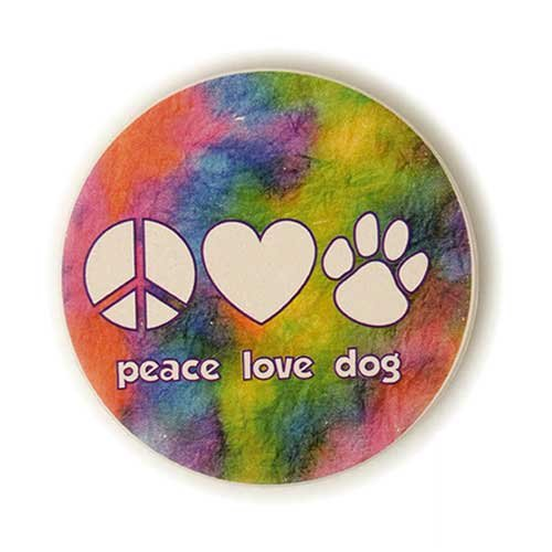 Peace Love Dog Paw Print Heart Absorbent Stone Car Auto Coaster 2.5