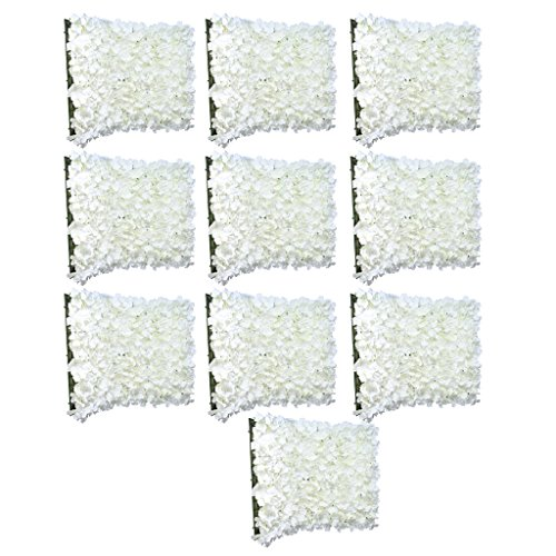 MonkeyJack 10 Pieces Romantic Artificial Flower Wall Panels Floral Decor for Wedding Venue Cream