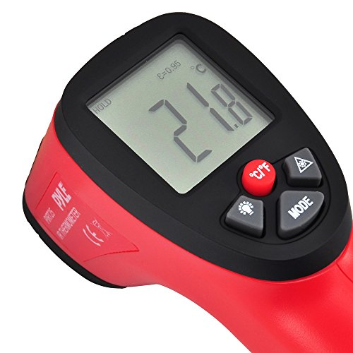 Pyle PIRT25 - Non Contact Compact Digital Laser Surface Infrared Thermometer Temperature Gun with Laser Point
