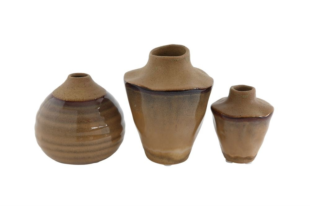 Heart of America 3 Assorted Styles Stoneware Reactive Glaze Vase - 6 Pieces