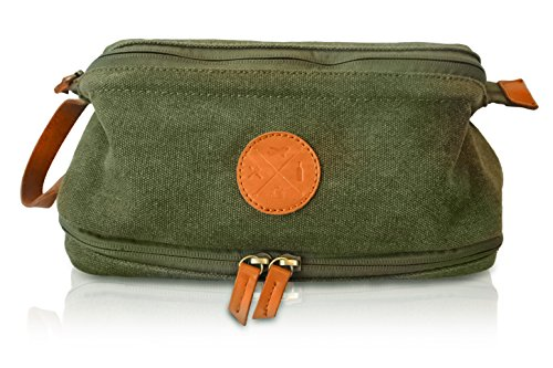 TDG Mens Dopp Kit - Premium Canvas Shaving Toiletry Bag boasts Vegan Leather Zipper and Handle - Compact Water-Resistant Bathroom Bags for Dapper Men - Great for Overnight, Shower and Travel ()