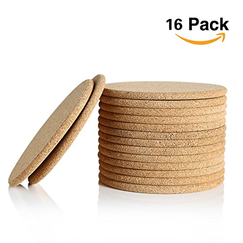 Round Cork Coaster - Natural Cork Coaster, Absorbent Coaster for Beverage, 4 inches Set of 16, Round