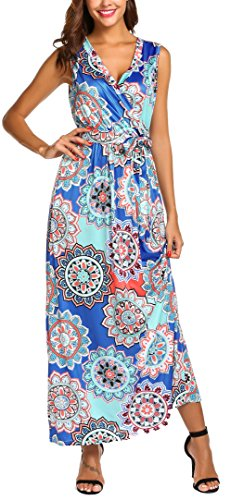 (SimpleFun Womens Sleeveless Wrap V Neck Belted Empire Waist A-Line Fit and Flare Bohemian Maxi Dress Casual Long Beach Dress (Blue,S) )