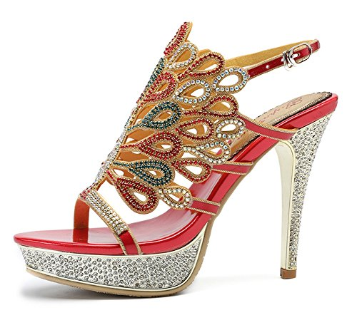 Zapatos Real Imitación Strappy Mid Señoras Tamaño Diamante Pavo Prom Nvxie Mujeres High Heel Sandalias Party De Red Low cZwcPqz4