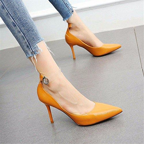 YMFIE scarpe profonde hanno singole tacchi sexy delle europei dello cinghia di sexy alti stiletto signore le indicato trasparenti I A temperamento poco della 01rx0wAP