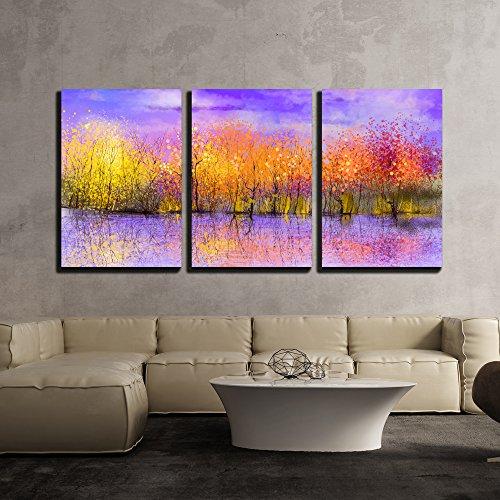 Oil Painting Landscape Colorful Autumn Trees x3 Panels