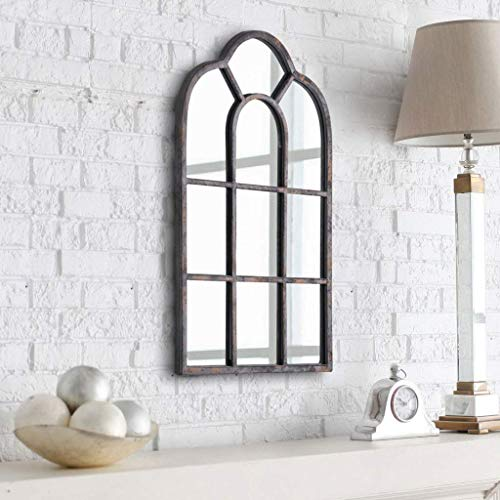 Simmer Stone Wall Mirror, Vintage Arched Windowpane Mirror, Metal Framed Mirror Wall Decor for Bedroom, Living Room, Gallery Wall and Hallway