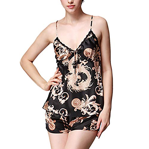 Dragon Silk Shirt (Women Satin Silk Sleepwear Set Deep V Neck Dragon Print Cami Tops Shorts Pajams Black)