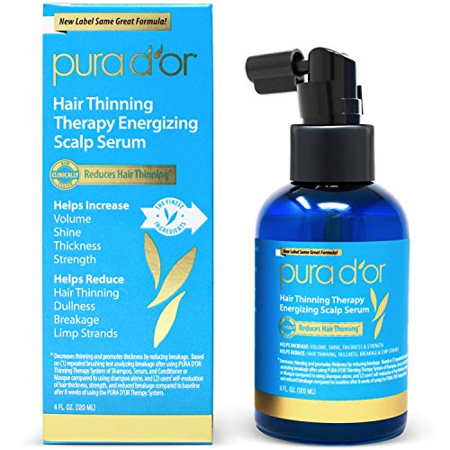 PURA D'OR Hair Thinning Therapy Energizing Scalp Serum Revitalizer (4oz) with Argan Oil, Biotin, Caffeine, Stem Cell, Catalase & DHT Blockers, All Hair Types, Men & Women (Packaging may ()