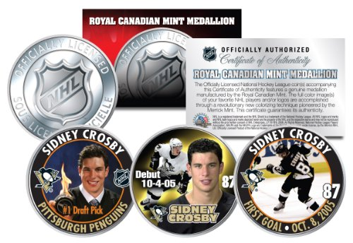 (2005-06 SIDNEY CROSBY Royal Canadian Mint Medallions NHL Rookie 3-Coin Full)