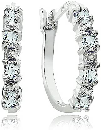 Sterling Silver Genuine Aquamarine Diamond Accent Hoop Earrings