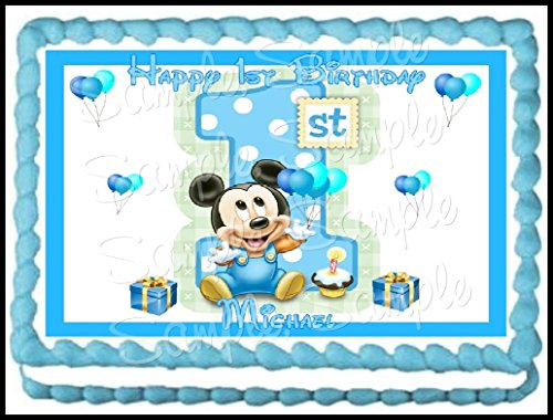 Baby Mickey 1st Birthday Edible Frosting Sheet - 1/4 Sheet