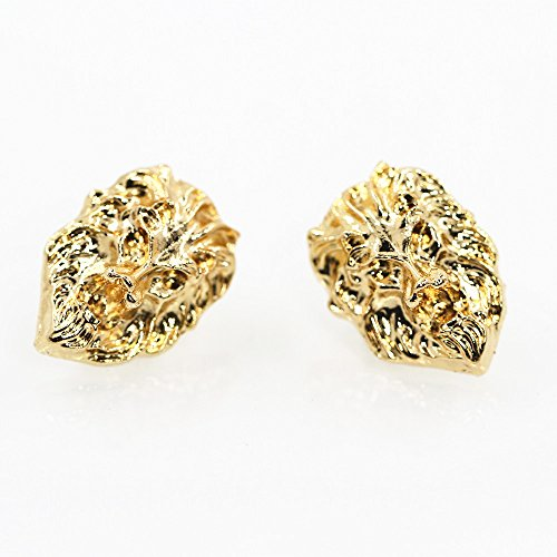 Pin Head Lion (JoJo & Lin Gold Tone Lion Head Casual Business Suit Shirt Collar Pin Brooch Tips Men Jewelry)