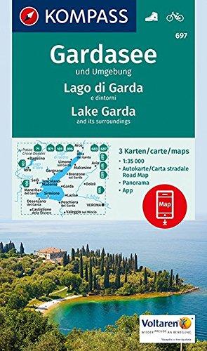 Gardasee und Umgebung - Lake Garda and its surroundings - Lago di Garda e dintorni: 3 Wanderkarten 1:35000 im Set inklusive Karte zur offline ... (KOMPASS-Wanderkarten, Band 697)