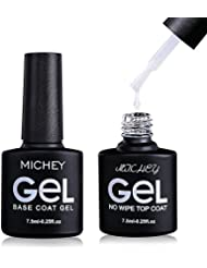 No Wipe Gel Top Coat and Base Coat Set, MIYOUNE UV LED...
