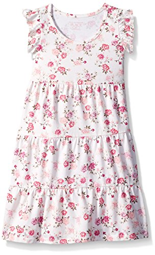 The Childrens Place Baby Girls Flutter Sleeve Casual Dresses, Snow 2530, 4T