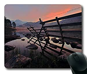 Armener Rectangle Mouse Pad With Fence Water Stones in the Morning