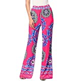 Pants,Han Shi Women's Sexy Printing Leggings Stretch High Waist Wide Leg Long Trousers (S, Hot Pink)