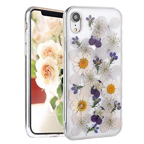 (Real Flower Case for iPhone XR, Elegant Feibili Soft Silicone iPhone XR Cover with Handmade Pressed Dried Flowers, Transparent Ultra-Thin Ultra-Light Skin for iPhone XR (Blue Flower) )