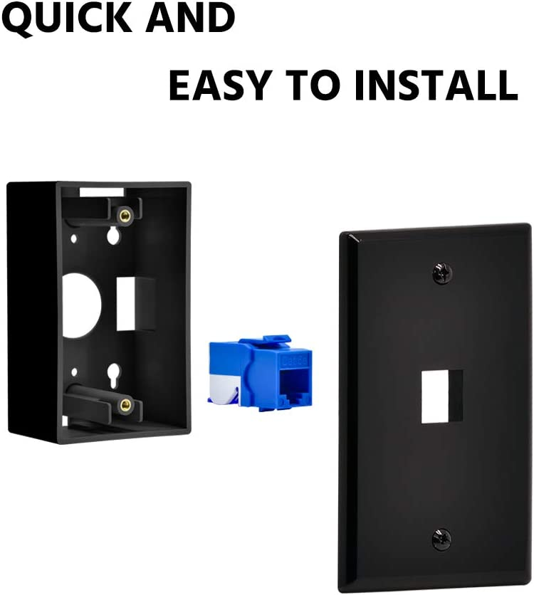 Beszin 1 Port Keystone Jack Wall Plate with Smooth Face 25-Pack, Black