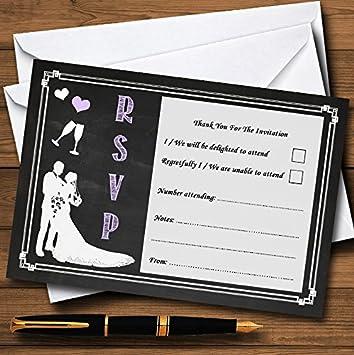 Tarjetas RSVP personalizadas de pizarra color lila 90 RSVP ...