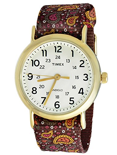 Timex Originals Ladies TW2P81200 Weekender Slip Thru Brown Paisley Quartz Gold Tone Case Watch
