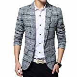 Mens Blazer Jacket Slim Fit One Button Sport Coat Notch Lapel Casual Business Solid Single Breasted Outwear