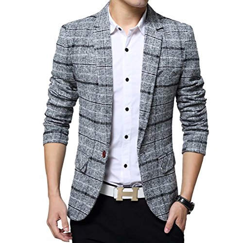 Men's Tweed Plaid Blazer Jacket Casual Business Sport Coat Long Sleeve One Button Slim Fit Suits Single-Breast Outwear Gray ()