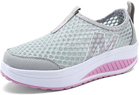 7941a9f2662c4 Padgene Womens Sneakers Mesh Slip On Wedges Platform Walking Shoes ...