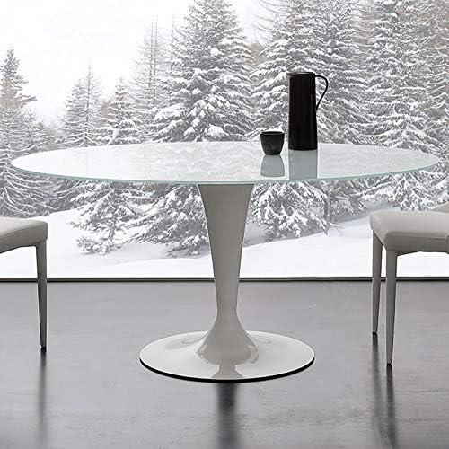 M-029 - Mesa ovalada blanca de cristal y acero Olivia: Amazon.es ...