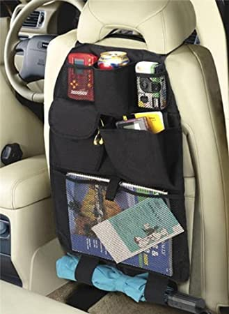 Families Navaris Car Boot Organiser Tidy Bag for Supplies Shopping Hanging Back Seat Storage with 4 Compartments Including Bottle Holder Kids