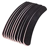 Set of 10 pcs Nail Art Manicure Black Curved Boomerang Buffing Files by Cheeky®