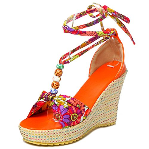 COOLCEPT Mujer Bohemia Cordones Sandalias Tacon Alto de Cuna Punta Abierta Zapatos Tamano Naranja