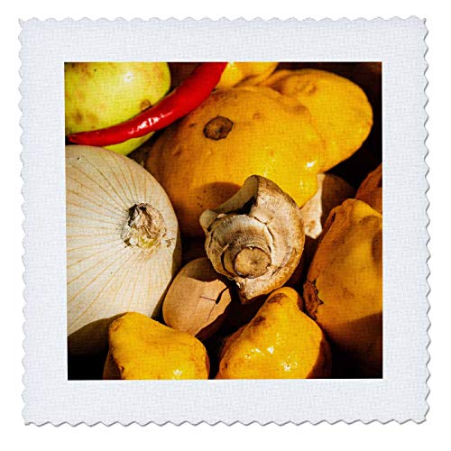 - 3dRose Alexis Photography - Food Fruits and Vegetables - A Pile of Vegetables, Onions, Chili Pepper, Mushroom and Squash - 12x12 inch Quilt Square (qs_304527_4)